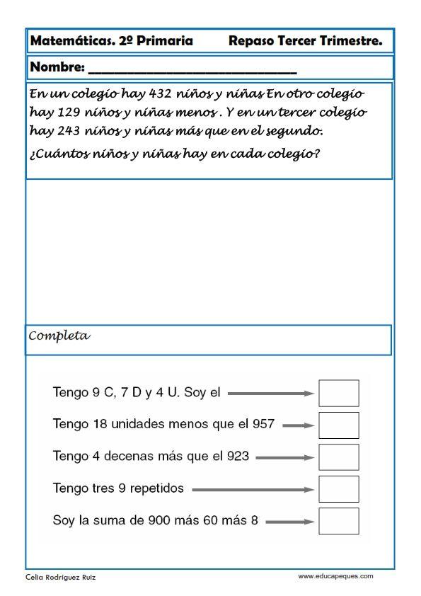 Fichas con ejercicios de matemáticas segundo primaria Vamos a repasar matemáticas en segundode primaria para niños de 6-7 y 8años