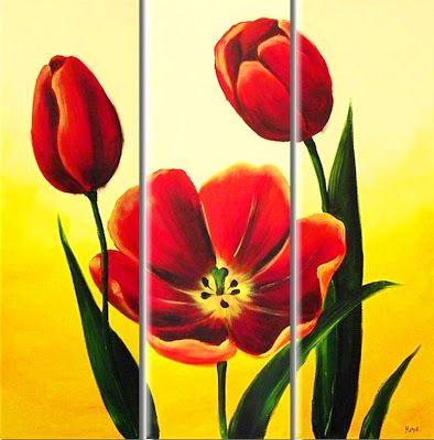Cuadros Modernos al Óleo : Cuadros flores exóticas tropicales