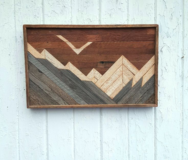 etsy wood mountain wall art