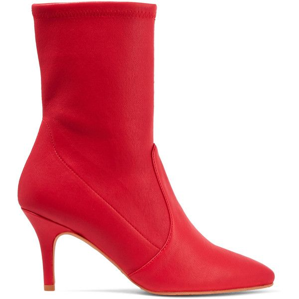 Stuart Weitzman Cling leather sock boots ($745) ❤ liked on Polyvore featuring shoes, boots, kitten heel booties, leather boots, leather booties, sock boots and red ankle booties