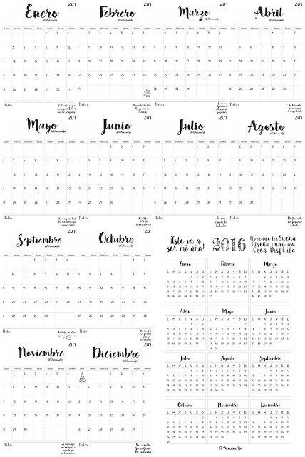 Calendarios mensual y anual 2016 en ESPAÑOL                              …