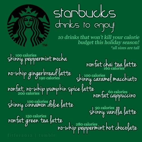 Sad that a skinny salted caramel mocha did NOT make the cut... Starbucks Drinks to Enjoy!