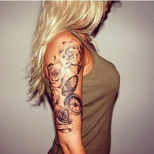 arm tattoo of roses and a compass tattoo pinterest. Black Bedroom Furniture Sets. Home Design Ideas