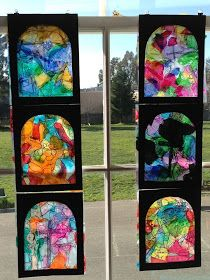 Stained glass windows. Tissue paper on transparencies