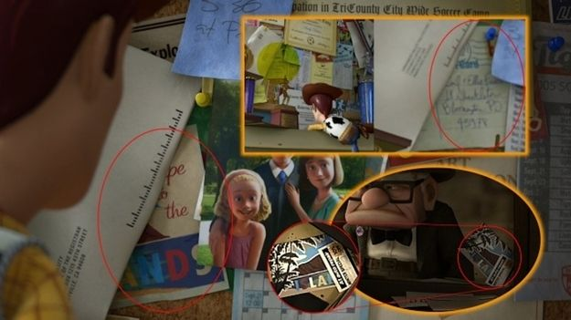 Toy Story 3--Andy either knows or is related to Carl and Ellie from Up! This is confirmed by the fact that he has a postcard sent from them on his pin board.