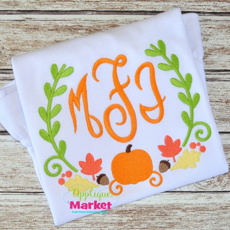 Bring in the season with Applique Market's great selection of special designs. Fall is a great time of year for customized clothing with our Pumpkin Laurel Wreath applique design.