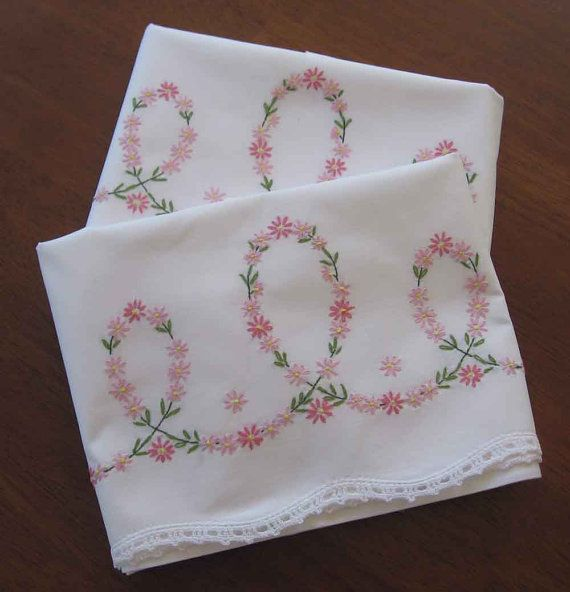 Pair Dainty Embroidered Pillowcases with Crocheted by vivasimone, $29.50