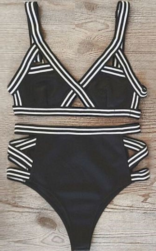 Black and White High Waisted Bikin