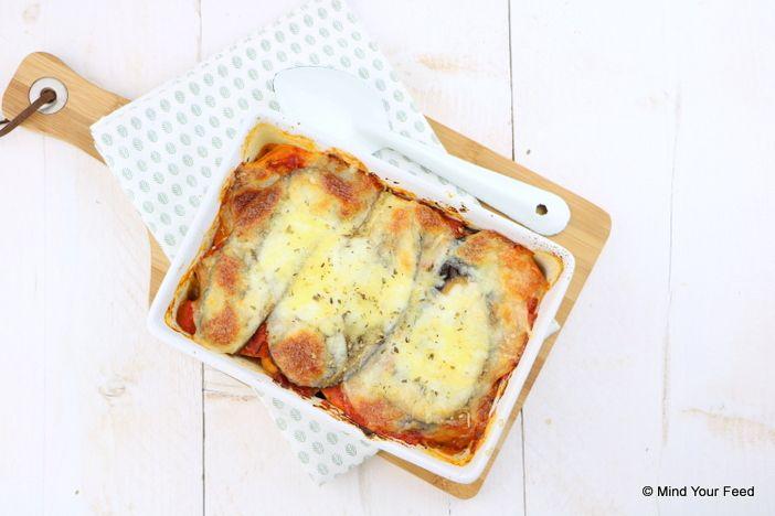 Zoete aardappel lasagne met aubergine - aanpassing: mozarella in het midden. Andere kaas bovenop.