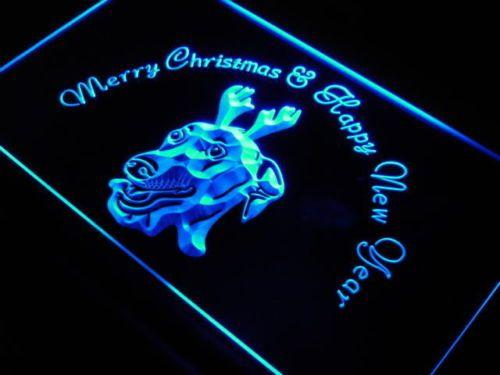 Greyhound Dog Christmas New Year Neon Light Sign