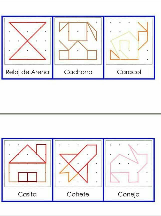 Geoplanos Actividades De Geometria Matematicas Para Jardin De Infantes Juegos Matematicos Para Ninos