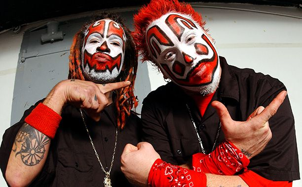 Insane Clown Posse. 24 more of the scariest clowns here: http://www.ew.com/ew/gallery/0,,20302134_20860453,00.html