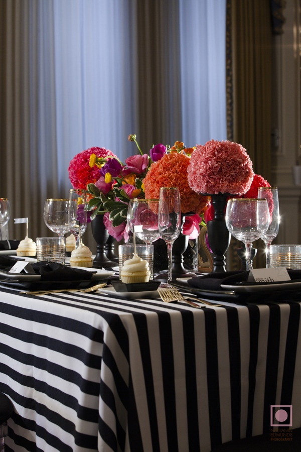 stylish stripes black and white striped reception table wedding reception