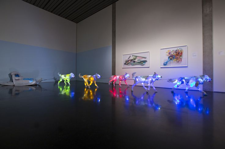 "Cynthia Minet, ""Sled Dogs,"" post-consumer plastic and LEDs."