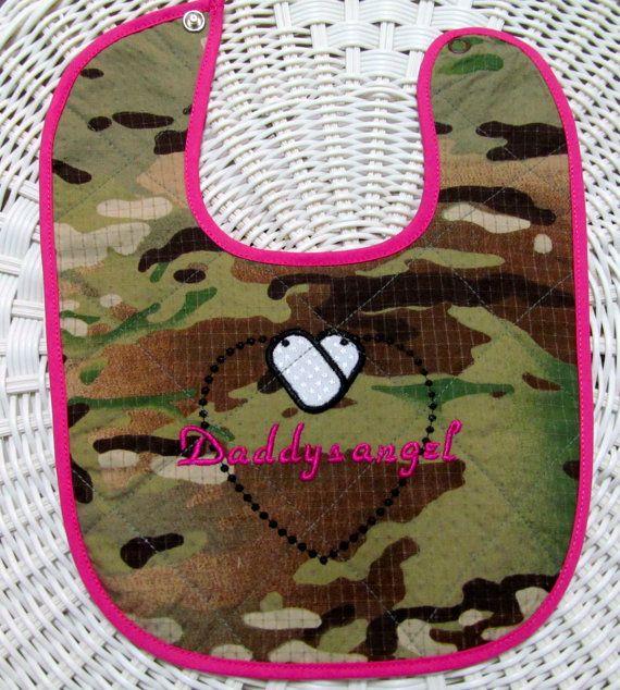 Daddys angel multi cam quilted baby bib ARMY by DarLynDesigns, $10.00