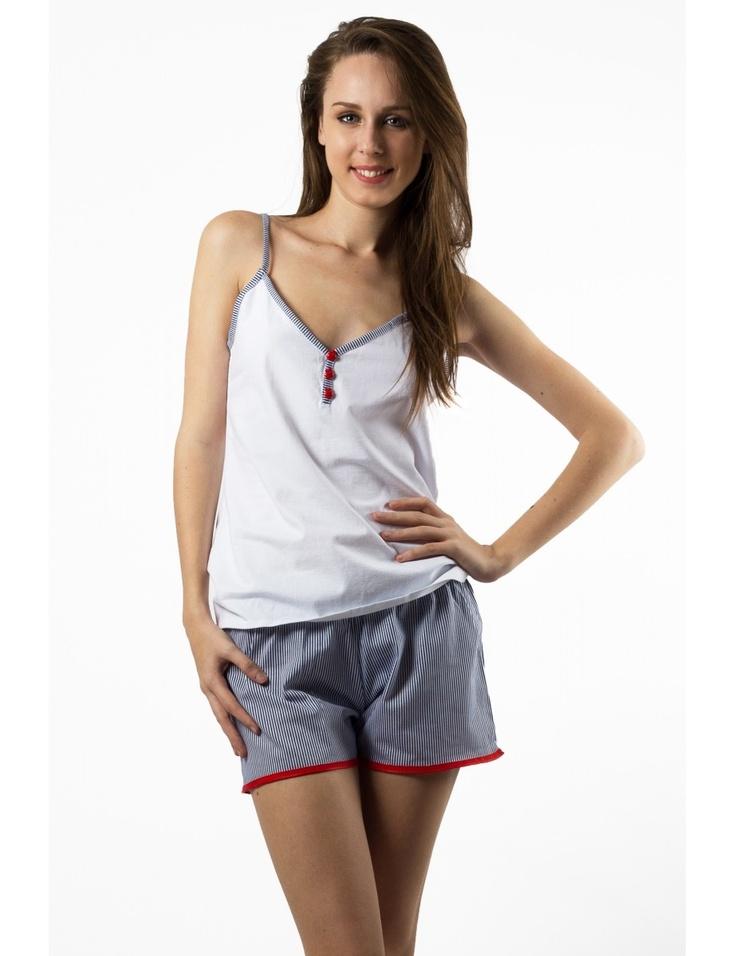 Zega Store - Pijamale Mushroom, culoarea alb cu bleumarin - Femei, Pijamale