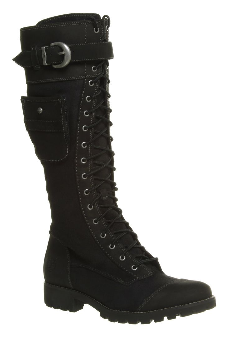 knee high leather boots women | Women's Timberland Atrus Knee High Zip/Lace Up Black Leather Boots ...
