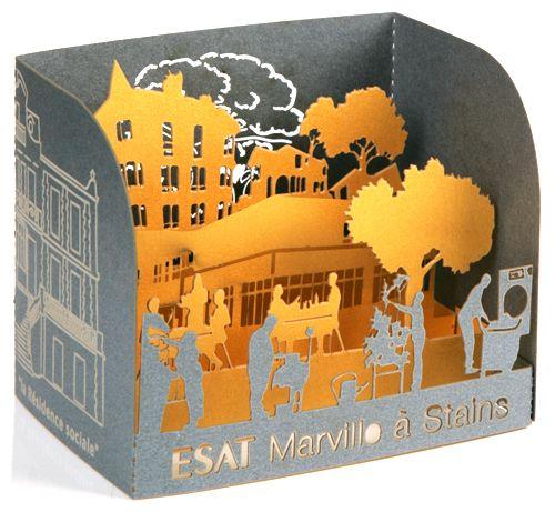 Cartes de vœux en découpe laser . Création sur-mesure de cartes de voeux pour les entreprises.