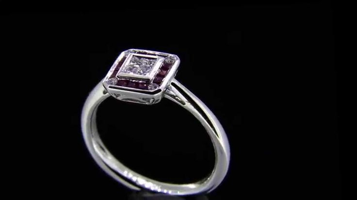 'MANDALLA' -- Elegant Vintage Style Engagement Ring set with Princess Cut Diamonds & Square Cut Rubies in 18ct White Gold - Diamond Wt. 0.17ct; Ruby.Wt. 0.22ct.