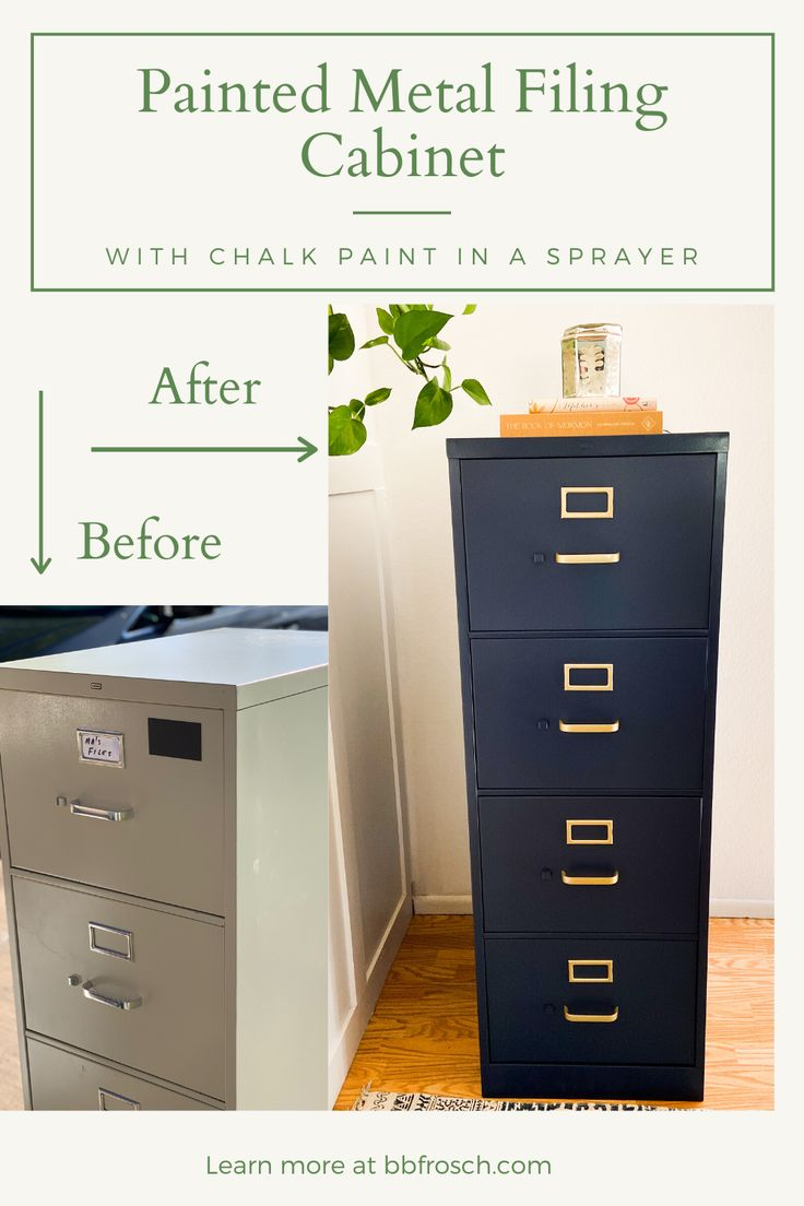 Painted Metal Filing Cabinet With Chalk Paint In A Sprayer Metal Filing Cabinet Filing Cabinet File Cabinet Makeover