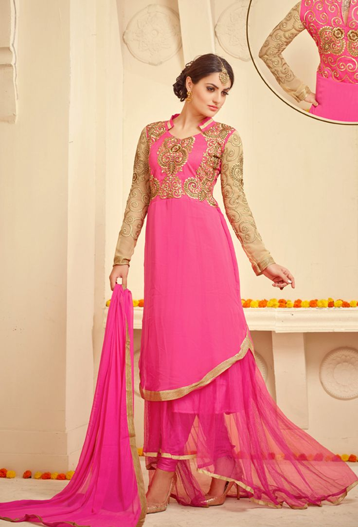 Pink Georgette Anarkali Suit #churidar #georgette #net #officewear #long #achkanstyle #salwarkameez #suit #suitsonline #traditional #straightcut #fullsleeve #contemporary #womenwear #womenclothing #nikvik #usa #designer #australia #canada #malaysia #UAE #freeshipping price-US$66.23.Sign up and get USD100 worth vouchers.Offer is valid for limited period.