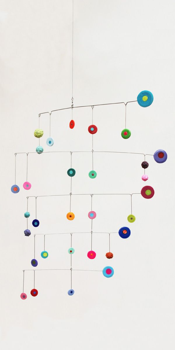 Colorful discs, mobile art -- Brindevero Maybe try with felt balls