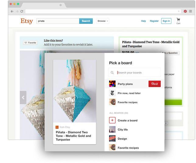 Bouton de navigateur Pinterest pour Chrome Enregistrez en un clic les idées créatives que vous dénichez sur le Web Il vous suffit de cliquer sur le lorsque vous trouvez sur un autre site un contenu que vous souhaitez mettre de côté. Essayez!