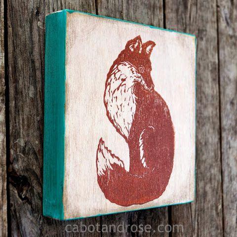 """Little Fox"" Print on Wood"