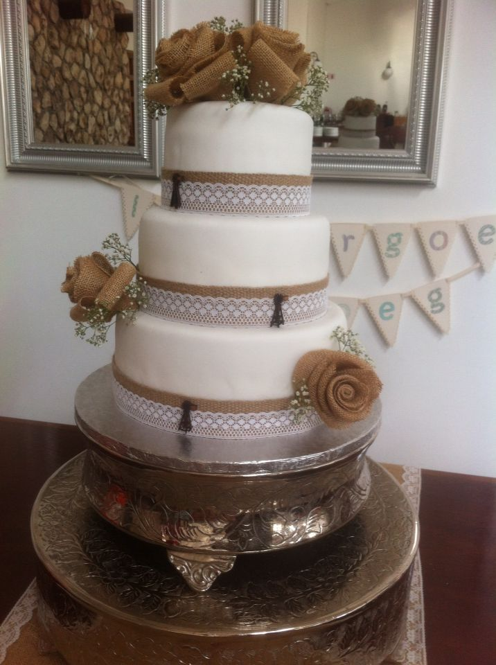 Wedding Cake with burlap roses