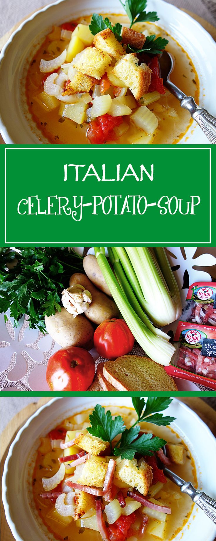 Celery Potato Soup - a simple recipe for an irresistably delicious soup, that, depending on personal taste, can even be gluten-free and/or vegetarian!    cucina-con-amore.com