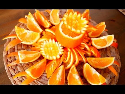 228 best images about art of vegetable and fruit carving for Fruit orange decoration