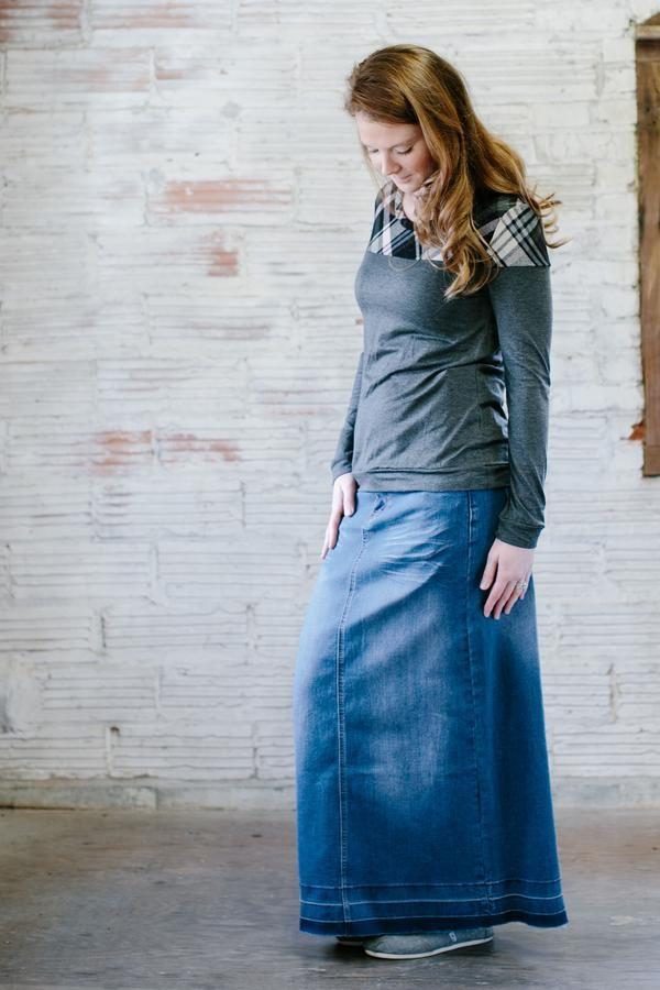 f1bea4881b Dana' Long Jean Skirt | No Slit Modest Skirt | Long skirts | Jean ...