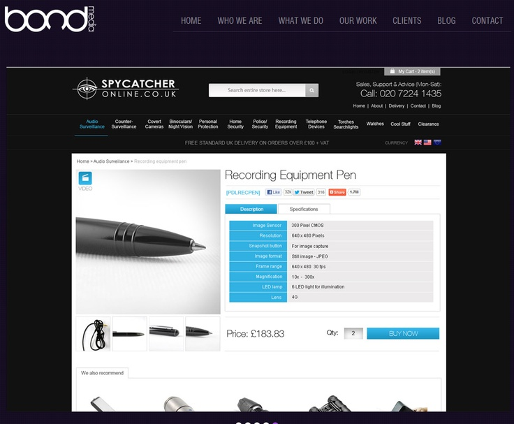 """SPYCATCHER ONLINE ~ Since the products are updated frequently a bespoke Matrix of """"Featured Products"""" was built to enable a number of different combinations on the home page giving the client full flexibility."""