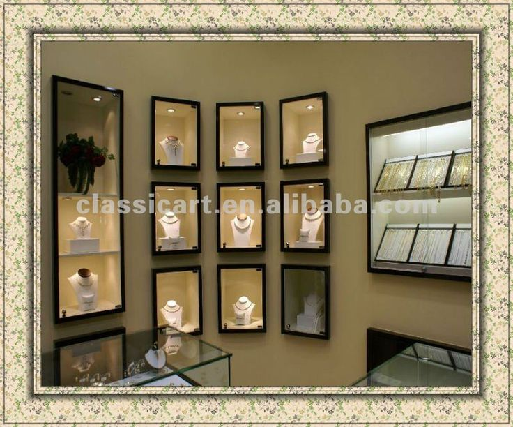 Jewelry store wall showcases jewelry display wall for Boutique wall displays