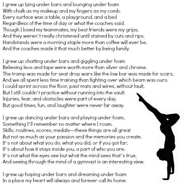 """""""Dreaming Under Foam"""" - A poem for every gymnast. #onceagymnast #alwaysagymnast"""