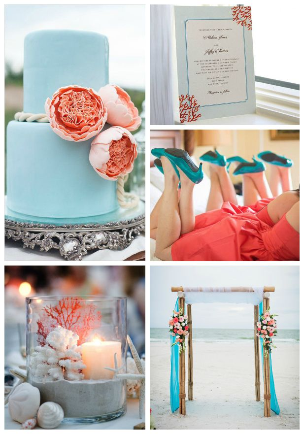 Top Wedding Color Combinations - Turquoise & Coral perfect for #Beachwedding by @myhotelwedding
