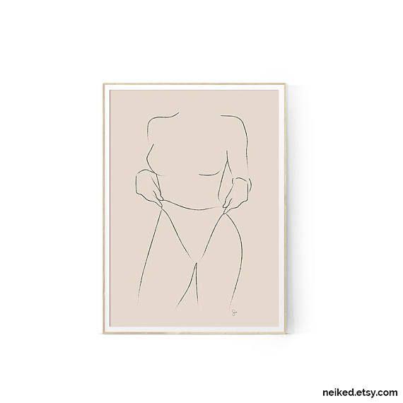 Woman Illustration Neutral Line Drawing Beige Minimalist Woman Print Greige Woman Drawing Body S In 2020 Fashion Art Prints Minimalist Artist Fashion Wall Art