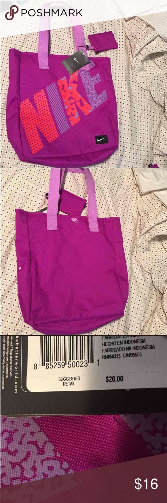 Nike tote bag Purple & bright orange Nike bag. BRAND NEW. Never used. Shoulder bag, has inside pocket. Perfect for gym, shopping or just a purse. Open to offers and questions! a RETAIL PRICE $26!! Nike Bags Totes