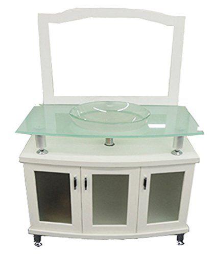 california usa modern white 36u2033 modern frosted glass vessel sink top solid wood vanity white bathroom