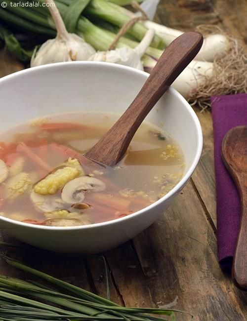 Tum Yum Soup with Mushrooms and Baby Corn