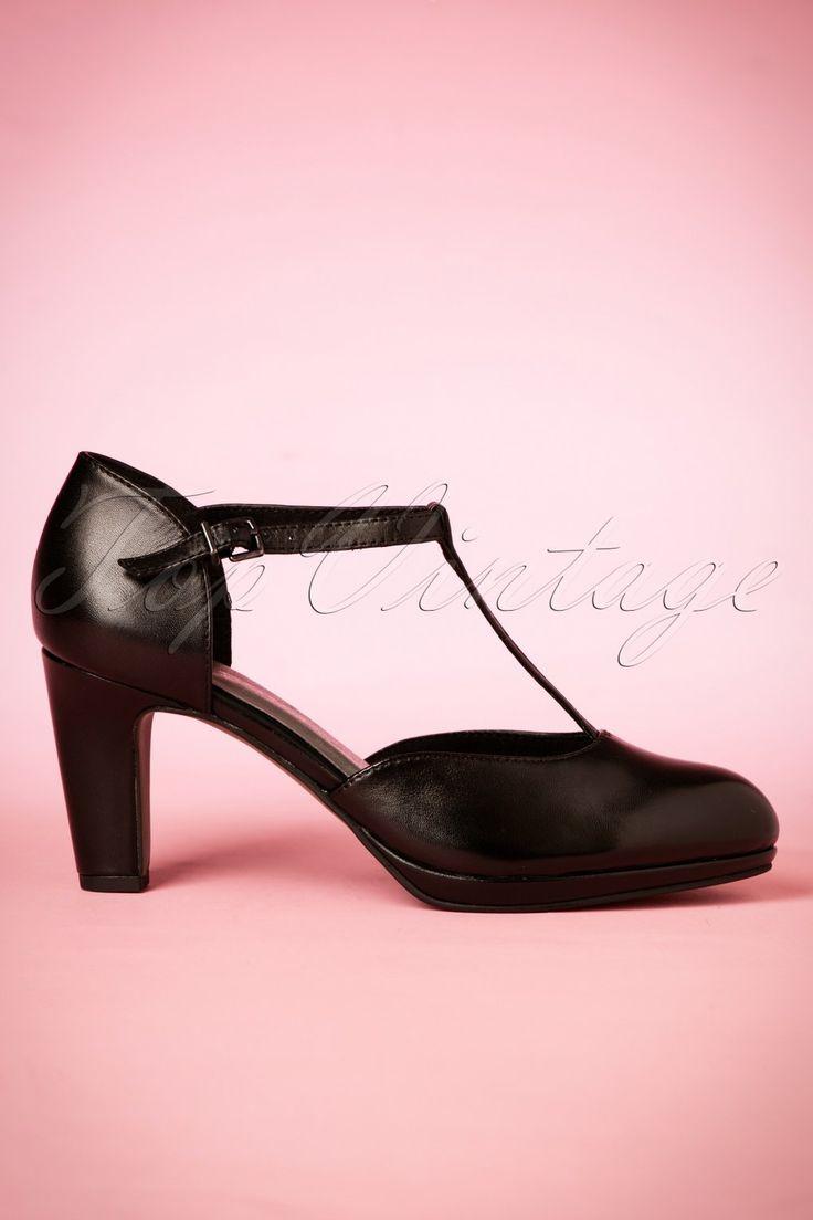1930s Style Shoes 40s Emily T-strap Leather Pumps in Black £60.35 AT vintagedancer.com