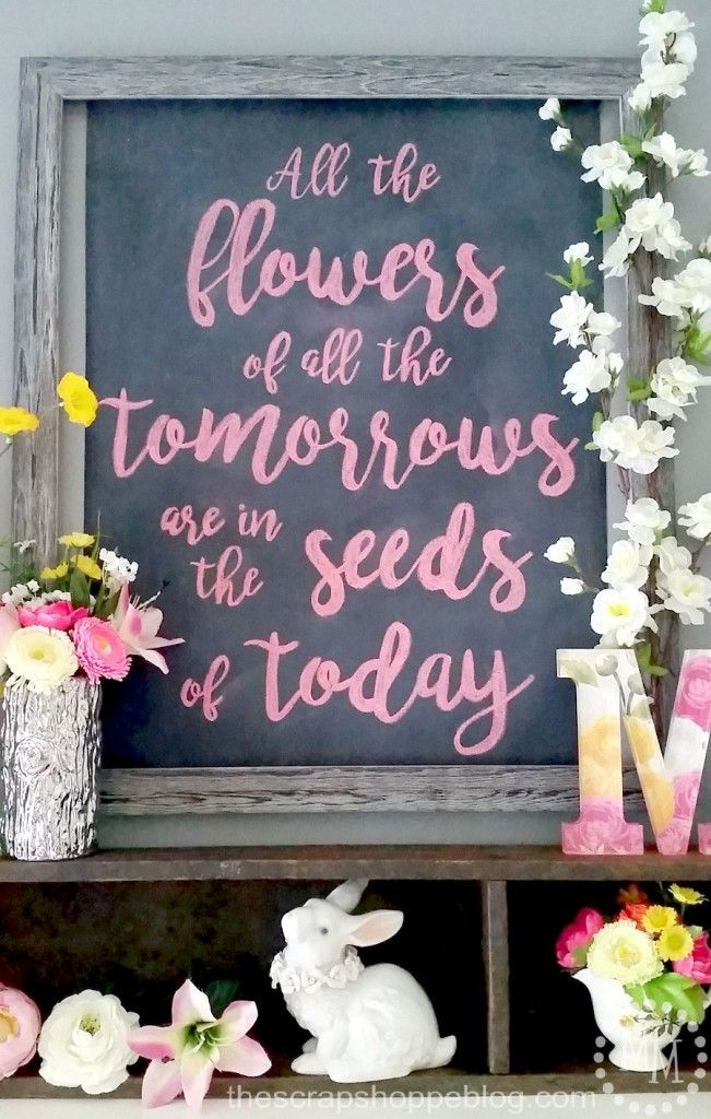 Chalk art spring floral quote for home decor