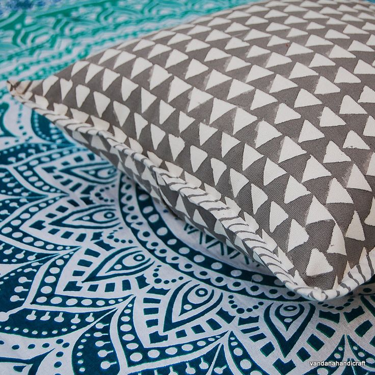 "Hand Block Printed Cotton Canvas Handmade Cushion Cover Ikat Print Designer Home Decor  Pillow Cover Case 16x16"" KH03 by ArtofPinkcity on Etsy"