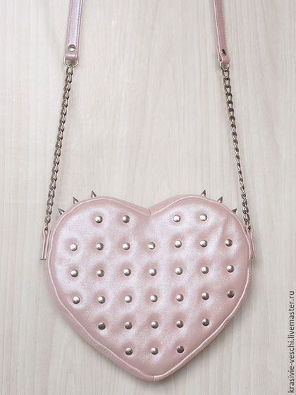 Женские сумки ручной работы. Ярмарка Мастеров - ручная работа. Купить сумка сердце розовое с шипами. Handmade. Бледно-розовый