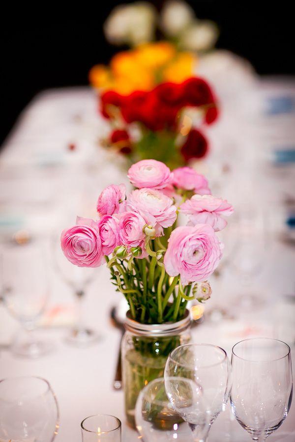 ranunculus centerpieces, photo by AK Studio & Design http://ruffledblog.com/zion-national-park-wedding #weddingflowers #weddingcenterpieces