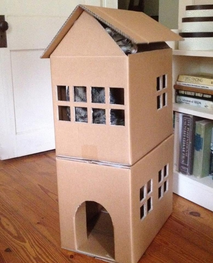 Yes Pinterest, I actually followed through on a project. Martha Stewart cat playhouse using 3 boxes. MJ loves it!