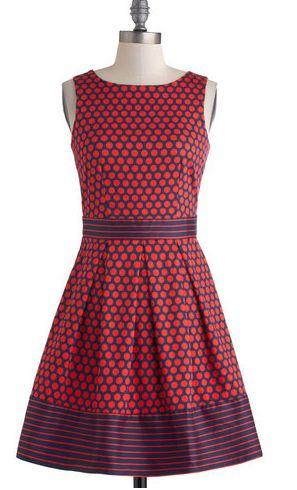 Fun polka dot and striped 50's dress to wear to a wedding
