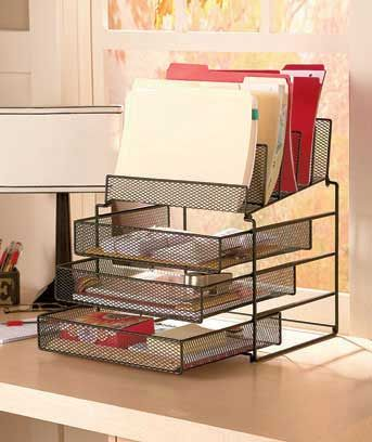 """Clear clutter off your workspace with the Desktop File Organizers! Each black mesh desktop rack has compartments to help you sort and store mail, bills, important papers and more. The Organizer with Drawers (16-1/4"""" x 14-1/2"""" x 11"""") has 5 compartments at"""