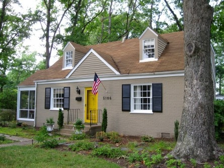 Tan house yellow doors and tans on pinterest