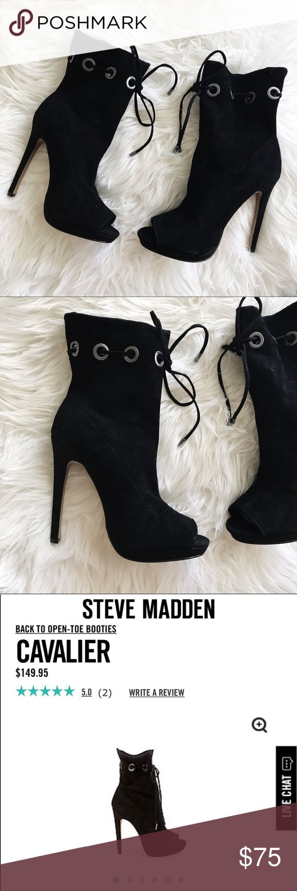 """Steve Madden Cavalier Black Suede Booties Steve Madden """"Cavalier"""" Black Booties • brand new • still FULL PRICE in stores • size 6 • bought to give as a gift and didnt work out • accepting reasonable offers + bundle to save • Despite having a sky-high heel, CAVALIER's sex appeal appears effortless, thanks to the bootie's slouchy-chic shaft that cinches with a playful drawstring.  Suede upper material Fabric lining Man-made sole 4.75 inch heel height 11.75 inch shaft circumference 6 inch shaft…"""